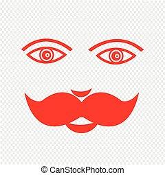 イラスト, 顔, デザイン, 人, 印, 口ひげ