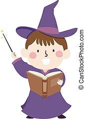 イラスト, 魔法使い, 子供, 本, 細い棒, 男の子