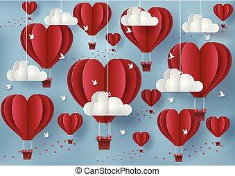 イラスト, 鳥, ショー, 日, バレンタイン, balloon, 人々。, concept., 持ちなさい, sky., 浮く, 愛, 飛行, ベクトル, 赤, 色, 心