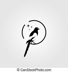 イラスト, 鳥, スペース, かささぎ, ロゴ, 否定的, ベクトル
