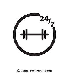 イラスト, 247, ベクトル, 黒, フィットネス, デザイン, アイコン