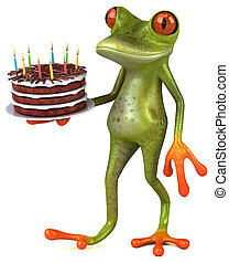 イラスト, 3d, カエル, ケーキ, birthday, -, 楽しみ