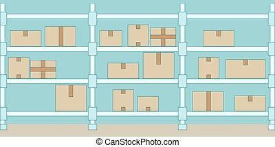 イラスト, boxes., interior., ベクトル, 倉庫, 棚