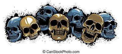 イラスト, characters., グループ, 人間, skulls., デザイン, 頭骨, ベクトル