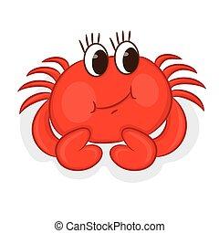 イラスト, crab., 漫画, ベクトル