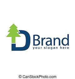 イラスト, d, 白い背景, トウヒ, logo., ベクトル, 手紙