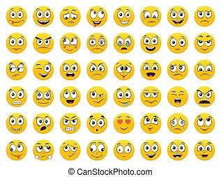 イラスト, emoticons., 白, 隔離された, 背景, emoji., セット, ベクトル, icons., 微笑