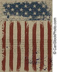 イラスト, eps10., バックグラウンド。, アメリカ人, ベクトル, 愛国心が強い, 年を取った