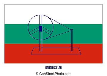 イラスト, gandhi's, 議会, ベクトル, 白, 導入される, ミーティング, 1921, 旗, バックグラウンド。