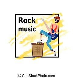 イラスト, guitar., 隔離された, musician., 若い, バックグラウンド。, ベクトル, 岩, 白, 遊び, 人