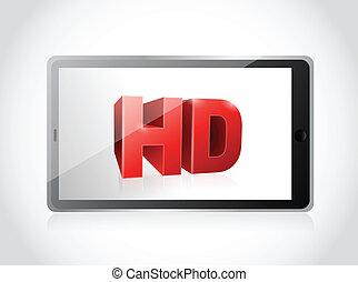 イラスト, hd, デザイン, screen., タブレット