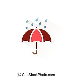 イラスト, icon., ベクトル, 孤立した色, 季節, umbrella.