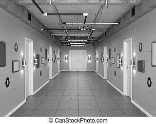 イラスト, loft-style, 暗い, doors., 廊下, 白, 空, 3d