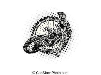 イラスト, motocross, ライダー, ベクトル