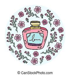 イラスト, perfume., perfumes., びん, ベクトル, 準備