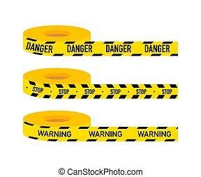 イラスト, signs., 注意, ライン, セット, 危険, 警告, tapes., ベクトル, isolated.