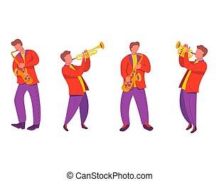 イラスト, trumpet.modern, 平ら, サクソフォーン, 四つ組, ベクトル, ジャズ・ミュージシャン, ノート。