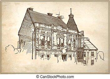 イラスト, uzhgorod, ベクトル, スケッチ, 都市の景観
