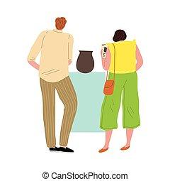 イラスト, vase., スタイル, 芸術, 恋人, 平ら, 地位, 女, 古代, 視聴, ベクトル, ギャラリー, 人, 漫画