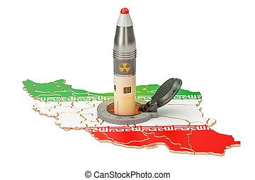 イラン人, ミサイル, 発射, から, ∥そ∥, 地下, サイロ, 発射, ファシリティ, 3d, レンダリング