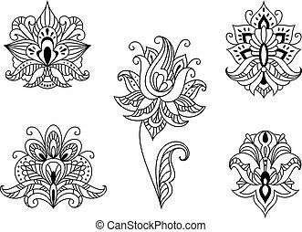 イラン人, paisleys, モチーフ, 花, 黒, 白
