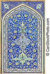 イラン, 背景, 東洋人, タイルを張った, 装飾, isfahan, モスク