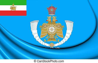 イラン, 3d, illustration., 王子, flag., 王冠