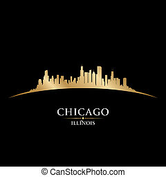 イリノイ, シカゴ, 黒い背景, スカイライン, 都市, シルエット