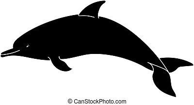 イルカ, シルエット, 上に, a, 白, バックグラウンド。