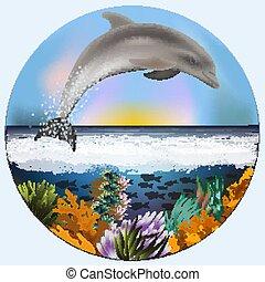 イルカ, 水中, ベクトル, カード, イラスト