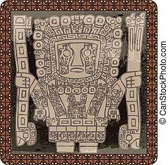 インカ, icon., ベクトル, グランジ, イラスト
