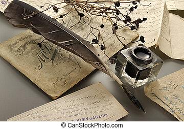 インク, そして, 羽の ペン