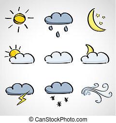 インク, スタイル, スケッチ, セット, -, 天候, アイコン