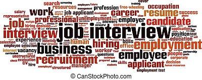 インタビュー, 仕事, 単語, 雲