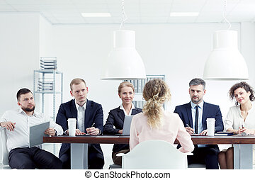 インタビュー, 仕事, 女, 持つこと
