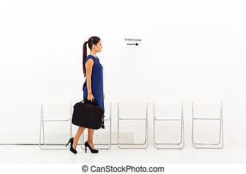 インタビュー, 女性実業家, 仕事, 行く