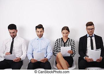 インタビュー, 待つこと, グループ, 人々