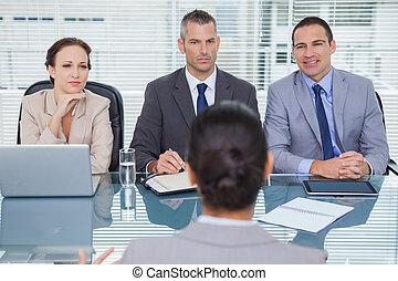 インタビュー, 志願者, チーム, ビジネス, 聞くこと