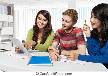 インターナショナル, グループ, の, 若い, 生徒