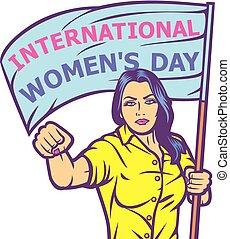 インターナショナル, デザイン, 日, 女性