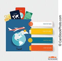 インターナショナル, パスポート, そして, 要素, の, travel., ビジネス, 仕事