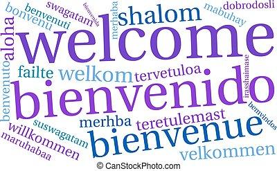 インターナショナル, 歓迎, 単語, 雲