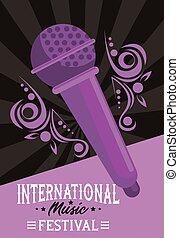 インターナショナル, 紫色, 音楽, 背景, マイクロフォン, ポスター, 祝祭