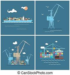 インターナショナル, 貨物, 交通機関, 貨物, アイコン