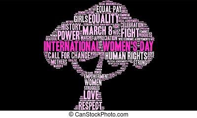 インターナショナル, womens, 単語, 日, 雲