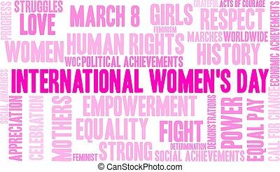 インターナショナル, womens, 日, 単語, 雲