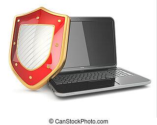 インターネットの 保証, concept., ラップトップ, そして, shield.
