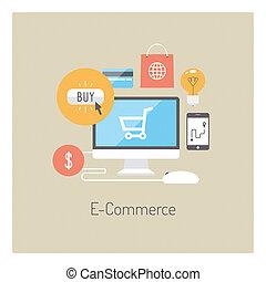 インターネット商業, 概念, イラスト, 平ら