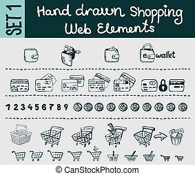 インターネット商業, sketchy, 要素, 買い物, セット