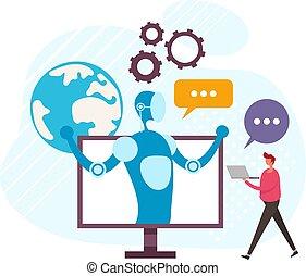 インターネット, デザイン, 援助, 漫画, concept., ベクトル, グラフィック, 談笑する, 平ら, オンラインで, ロボット, イラスト